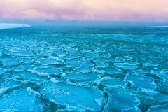 Blocks of ice on the coast of the frozen sea Royalty Free Stock Photos