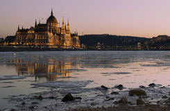 Blocks of ice floating on Danube Stock Photo
