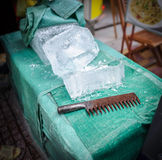 Blocks of ice for sale in the street Royalty Free Stock Photography