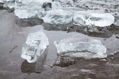 Blocks of ice on a winter frozen river Royalty Free Stock Photography