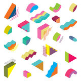 Blocks isometric Color Design elements. In the Memphis style Stock Photos