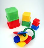 Blocks and keys. Building blocks and a set of toy keys Royalty Free Stock Images