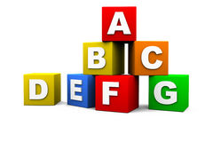 Blocks with letters. Blocks with the letters of the alphabet stock illustration