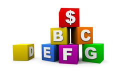 Blocks with letters. Blocks with the letters of the alphabet and a dollar sign stock illustration