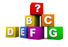 Blocks with letters. Blocks with the letters of the alphabet and a question mark royalty free illustration