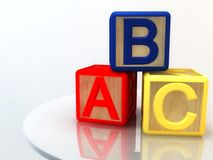 Blocks with letters a, b c. Details of colorful wooden blocks with the embossed letters A, B, and C Royalty Free Stock Photos