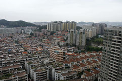 Blocks of low-rise and hi-rise residential homes in regional China Royalty Free Stock Photography