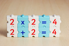 Blocks with math problems on the table Royalty Free Stock Photo