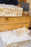 Blocks of Nougat are for sale at a Market in Sault, France. Royalty Free Stock Photos