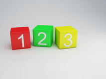 Blocks 123 numbers, 3d render Royalty Free Stock Photography