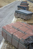 Blocks for pavement on the pallet  Stock Photos