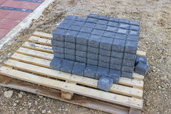 Blocks for pavement on the pallet  Stock Photography