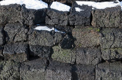 Blocks of peat. A wall of blocks peat stock photos