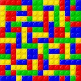 Blocks. Plastic building blocks, seamless pattern Stock Image