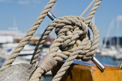 Blocks and rigging at the old sailboat Royalty Free Stock Images