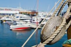 Blocks and rigging at the old sailboat Royalty Free Stock Photos