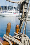 Blocks and rigging at the old sailboat Stock Photos