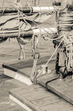 Blocks and rigging of an old sailboat, close-up Royalty Free Stock Images