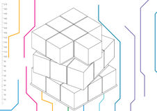 Blocks with scale. In color lines background royalty free illustration