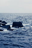 Blocks in the sea Stock Photo