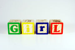 Blocks that spell Girl. Childrens blocks that spell GIRL stock photos