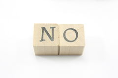 Blocks spell No. Home made blocks spell out the word No Royalty Free Stock Photo