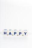 Blocks spell the word Happy Royalty Free Stock Photo