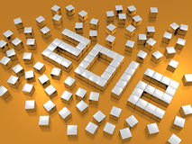 Blocks spelling 2012. Overhead view of white blocks or cubes spelling year 2012 on golden background Stock Images