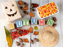 Blocks Spelling Out Autumn stock image