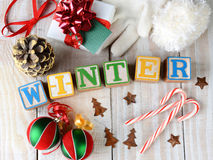 Blocks Spelling Out Winter Stock Image