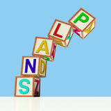Blocks Spelling Plans Falling Over Stock Photos