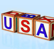 Blocks Spelling Usa As Symbol for America Royalty Free Stock Photo