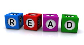 Blocks spelling word read. 3d illustration of colorful blocks spelling word read with white background stock photo