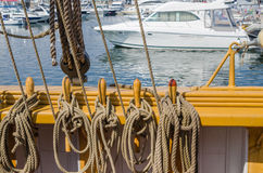 Blocks and tackles  a sailing vessel Royalty Free Stock Photo