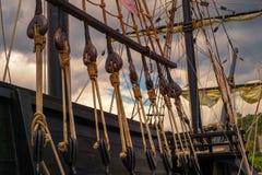 Blocks and tackles of a sailing vessel. Close view Stock Image