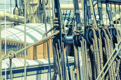 Blocks and tackles of a sailing vessel Stock Image