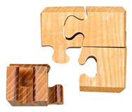 Blocks of three dimensional mechanical puzzle Royalty Free Stock Photo