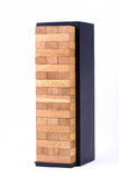 Blocks wood game (jenga) with black box isolate Royalty Free Stock Images