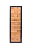 Blocks wood game (jenga) with black box isolate on white backgro Stock Image