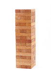 Blocks wood game (jenga) on white background. Stock Photos