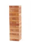 Blocks wood game (jenga) on white background. Stock Photos