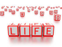 Blocks with the word life written on it. Stock Images
