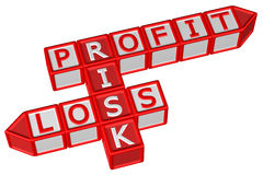 Blocks with word Profit, Risk, Loss. 3D rendering. Stock Photos
