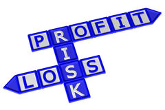 Blocks with word Profit, Risk, Loss. 3D rendering. Blocks with word Profit, Risk, Loss, isolated on white background. 3D rendering Stock Photos