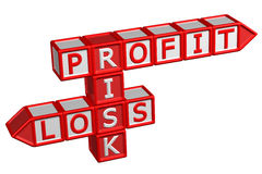 Blocks with word Profit, Risk, Loss Stock Images