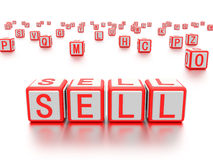 Blocks with the word sell written on it. Stock Images