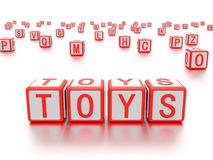 Blocks with the word toys written on it. Royalty Free Stock Photos