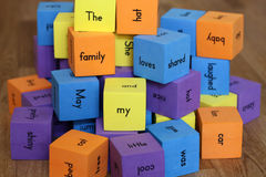 Blocks with words Stock Photos