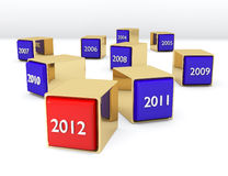 Blocks with years. Blocks with different years and new 2012 Stock Photography