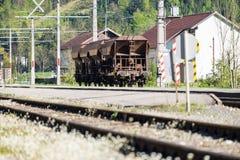 Blockwagen auf Eisenbahn Lizenzfreie Stockbilder